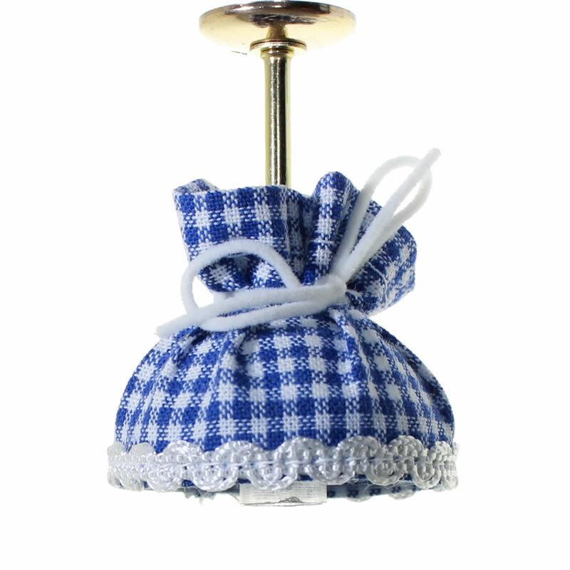 h ngelampe mit stoffschirm kariert blau puppenhaus. Black Bedroom Furniture Sets. Home Design Ideas