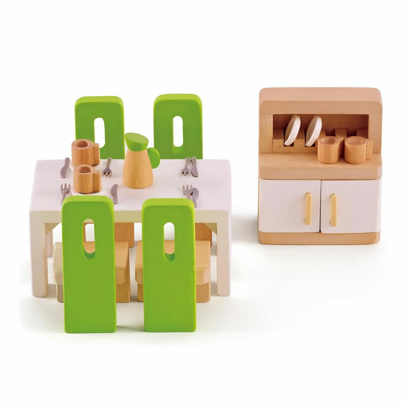 Hape Puppenhausmöbel - Modernes Esszimmer-Set - Puppenhaus-Welt.
